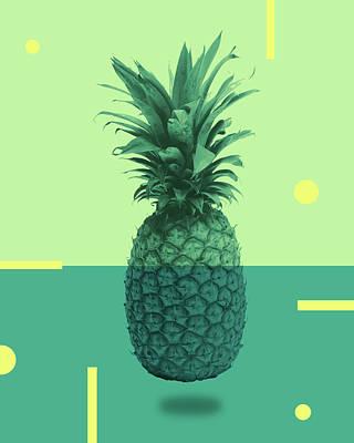 Mixed Media - Pineapple Print - Tropical Decor - Botanical Print - Pineapple Wall Art - Blue, Teal, Aqua - Minimal by Studio Grafiikka