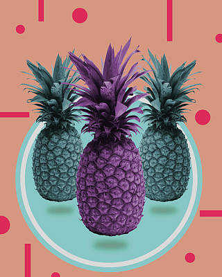 Royalty-Free and Rights-Managed Images - Pineapple Print - Tropical Decor - Botanical Print - Pineapple Wall Art - Brown, Blue - Minimal by Studio Grafiikka
