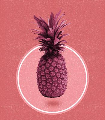 Mixed Media - Pineapple Print - Tropical Decor - Botanical Print - Pineapple Wall Art - Magenta, Pink - Minimal by Studio Grafiikka