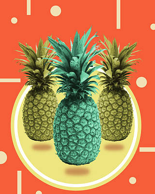 Mixed Media - Pineapple Print - Tropical Decor - Botanical Print - Pineapple Wall Art - Orange, Blue - Minimal by Studio Grafiikka