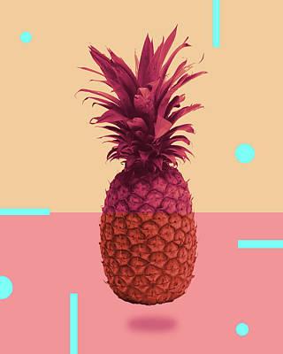 Mixed Media - Pineapple Print - Tropical Decor - Botanical Print - Pineapple Wall Art - Pink, Peach - Minimal by Studio Grafiikka