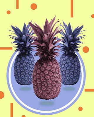 Mixed Media - Pineapple Print - Tropical Decor - Botanical Print - Pineapple Wall Art - Yellow, Blue - Minimal by Studio Grafiikka