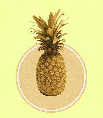 Royalty-Free and Rights-Managed Images - Pineapple Print - Tropical Decor - Botanical Print - Pineapple Wall Art - Yellow, Golden - Minimal by Studio Grafiikka