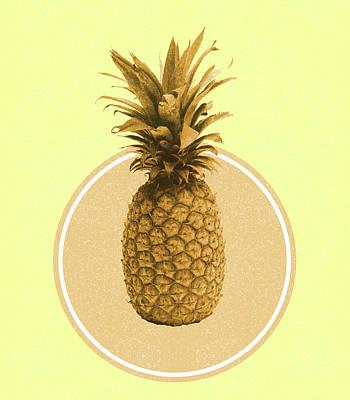 Mixed Media - Pineapple Print - Tropical Decor - Botanical Print - Pineapple Wall Art - Yellow, Golden - Minimal by Studio Grafiikka