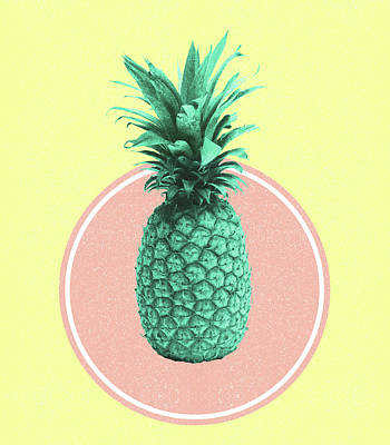 Royalty-Free and Rights-Managed Images - Pineapple Print - Tropical Decor - Botanical Print - Pineapple Wall Art - Yellow, Pink - Minimal by Studio Grafiikka
