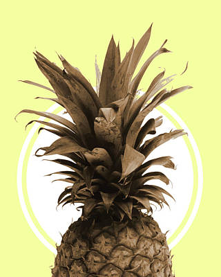 Royalty-Free and Rights-Managed Images - Pineapple Print - Tropical Poster - Botanical Print - Pineapple Wall Art - Yellow, Golden - Minimal by Studio Grafiikka