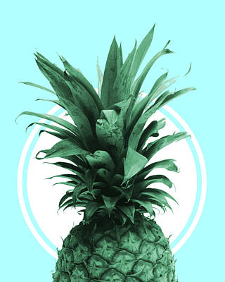 Mixed Media - Pineapple Print - Tropical Wall Art - Botanical Print - Pineapple Poster - Blue - Minimal, Modern by Studio Grafiikka