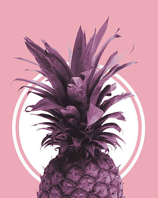 Mixed Media - Pineapple Print - Tropical Wall Art - Botanical Print - Pineapple Poster - Purple - Minimal, Modern by Studio Grafiikka
