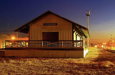 Photograph - Pinewood South Carolina Depot 10 Color Night by Joseph C Hinson Photography