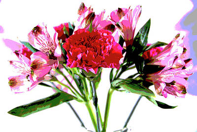 Photograph - Pink Alstroemeria Watercolor by Jennifer Wick