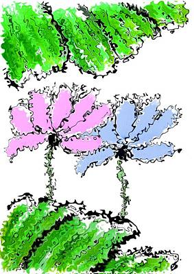 Mixed Media - Pink And Blue Lotus Flowers by Steven Clarke