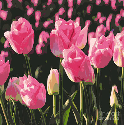 Photograph - Pink And Purple Tulips Square Digital Art by Carol Groenen