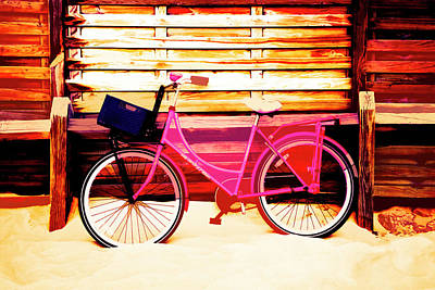 Photograph - Pink Bike At The Beach Abstract Art by Debra and Dave Vanderlaan