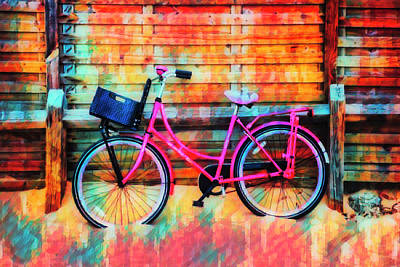 Photograph - Pink Bike At The Beach Island Art by Debra and Dave Vanderlaan