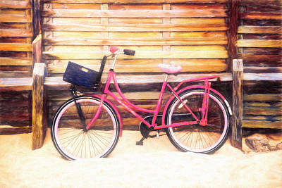 Photograph - Pink Bike At The Beach Watercolor Painting by Debra and Dave Vanderlaan