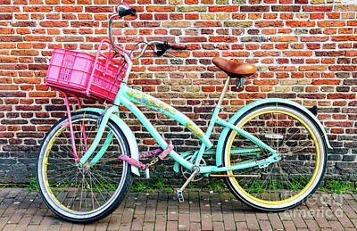 Photograph - Pink Bike Basket In Amsterdam by John Rizzuto