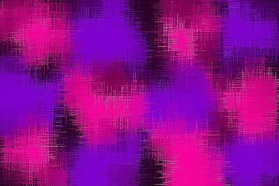 Open Impressionism California Desert - Pink Blue And Purple Painting Abstract With Black Background by Tim LA