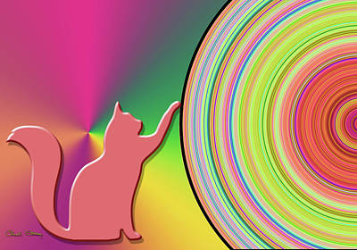 Digital Art - Pink Cat by Chuck Staley