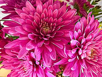 Photograph - Pink Chrysanthemum Flowers Expressionist Effect by Rose Santuci-Sofranko