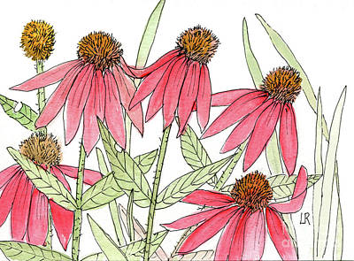 Pink Coneflowers Gather Watercolor Art Print