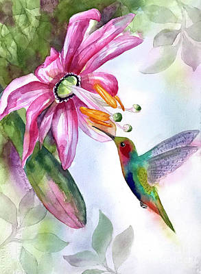 Painting - Pink Flower For Hummingbird by Hilda Vandergriff