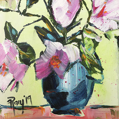 Abstract Painting - Pink Gardenias In A Blue Pitcher by Roxy Rich