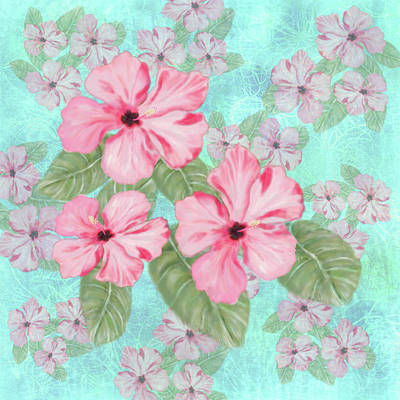 Digital Art - Pink Hibiscus Print On Aqua by Sand And Chi