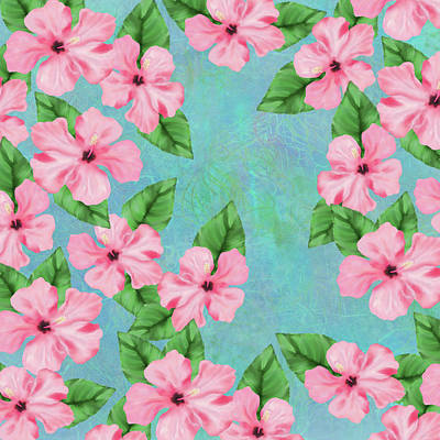 Digital Art - Pink Hibiscus Tropical Floral Print by Sand And Chi