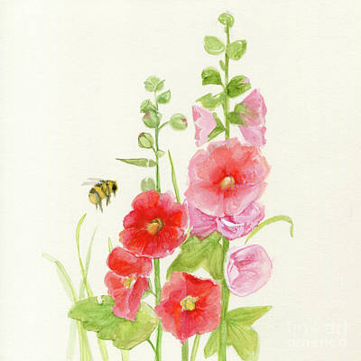 Pink Hollyhock Watercolor Art Print