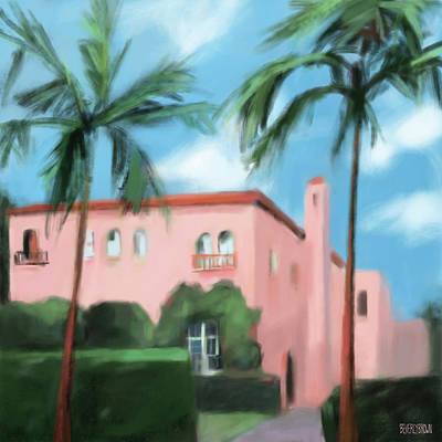 Painting - Pink House Palm Beach by Beverly Brown
