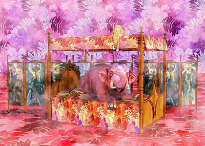 Comics Royalty-Free and Rights-Managed Images - Pink Laughing Elephant by Betsy Knapp