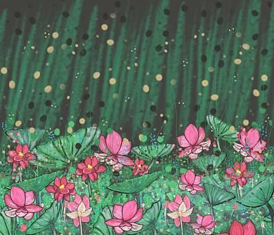Wall Art - Mixed Media - Pink Lilies Digital Change2 by Joan Stratton