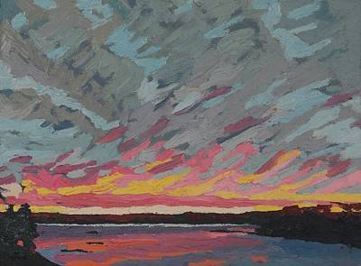 Painting - Pink Lines Sunset Singleton by Phil Chadwick
