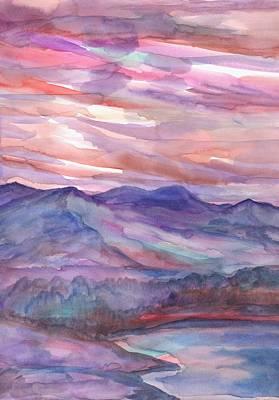 Pink Mountain Landscape Art Print