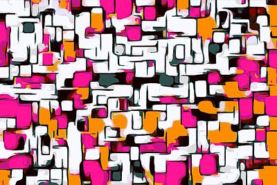 Modern Man Surf - Pink Orange And Black Lines Drawing Abstract With White Background by Tim LA