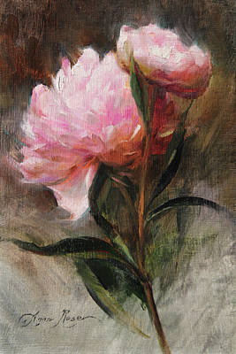 Miniature Painting - Pink Peonies by Anna Rose Bain