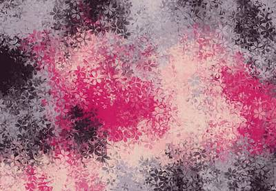1920s Flapper Girl - Pink Purple And Black Flowers Abstract Background by Tim LA