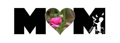 Photograph - Pink Ranunculus In Heart Mom Big Letter-girls by Colleen Cornelius
