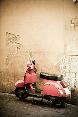Photograph - Pink Scooter And Roman Wall, Rome Italy by Romaoslo