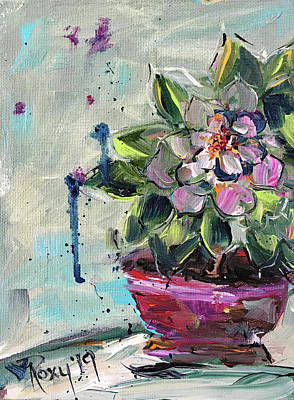 Contemporary Painting - Pink Succulent by Roxy Rich