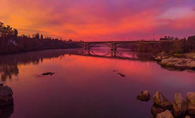 Go For Gold - Pink Sunrise over Lake Natoma by Jonathan Hansen