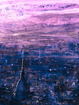 Surrealism Digital Art - Pink Turin Aerial View by Andrea Gatti