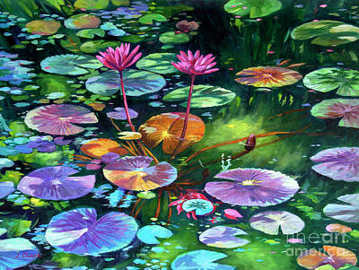 Lilies Royalty-Free and Rights-Managed Images - Pink Water Lilies and Lily Pads by John Clark