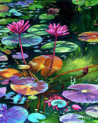Lilies Royalty-Free and Rights-Managed Images - Pink Waterlilies by John Clark