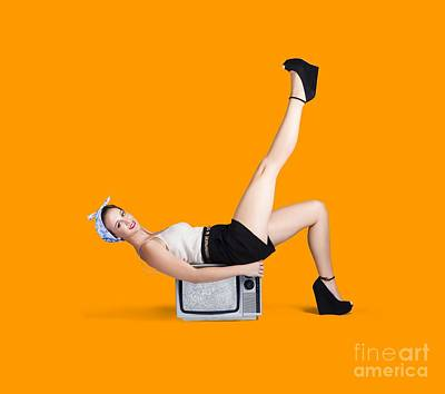Photograph - Pinup Girl Balancing On Television Set by Jorgo Photography - Wall Art Gallery
