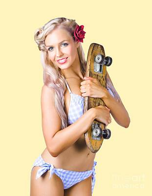 Art Print featuring the photograph Pinup Woman In Bikini Holding Skateboard by Jorgo Photography - Wall Art Gallery