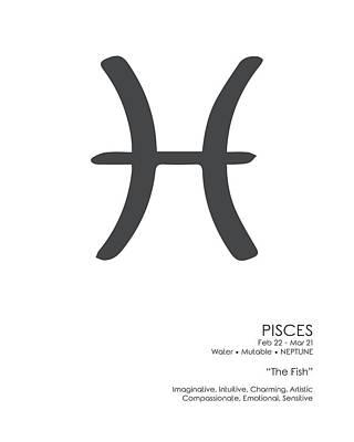 Mixed Media Royalty Free Images - Pisces Print - Zodiac Signs Print - Zodiac Posters - Pisces Poster - Black and White - Pisces Traits Royalty-Free Image by Studio Grafiikka
