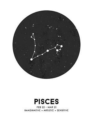 Mixed Media Royalty Free Images - Pisces Print - Zodiac Signs Print - Zodiac Posters - Pisces Poster - Night Sky - Pisces Traits Royalty-Free Image by Studio Grafiikka