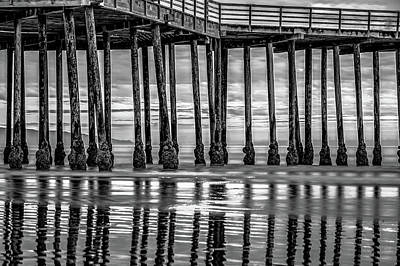 Photograph - Pismo Beach Pier Ocean Reflections - Monochrome by Gregory Ballos