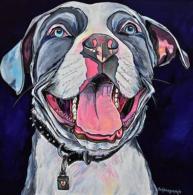Painting - Pit Bull Love by Patti Schermerhorn